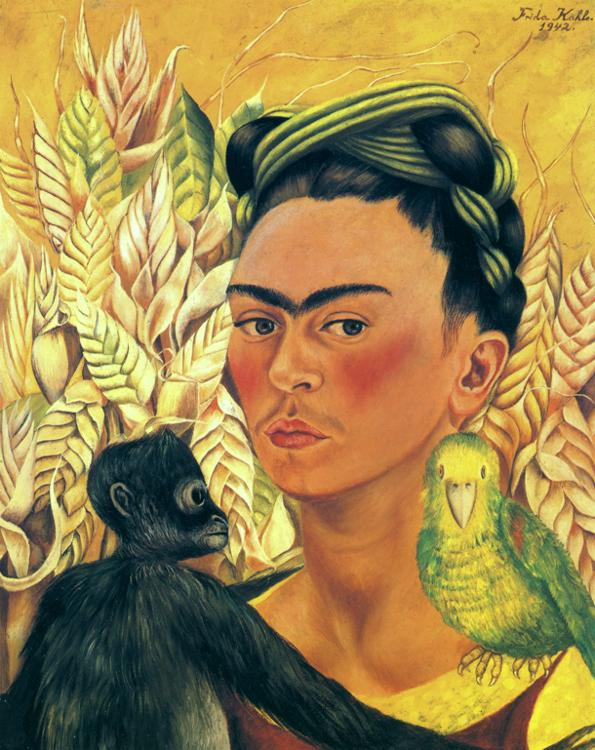 Self-Portrait with Monkey and Parrot. 1942
