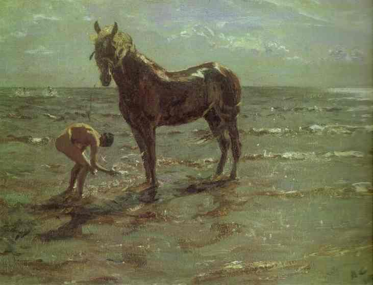 Oil painting:Bathing of a Horse. 1905