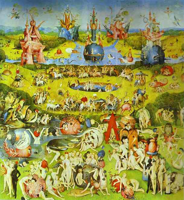 Oil painting:Garden of Earthly Delights. Central panel. c.1504-1510