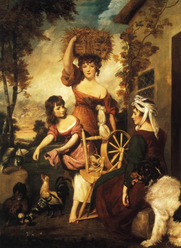Oil painting:Mrs and Miss Macklin, with Miss Potts. 1788