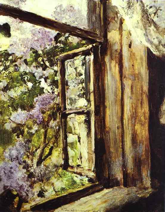 Oil painting:Open Window. Lilacs. Study. 1886