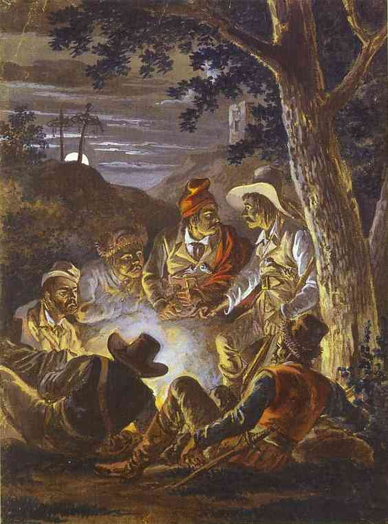 Oil painting:Polish Insurgents in the Forrest at Night. 1811-1820