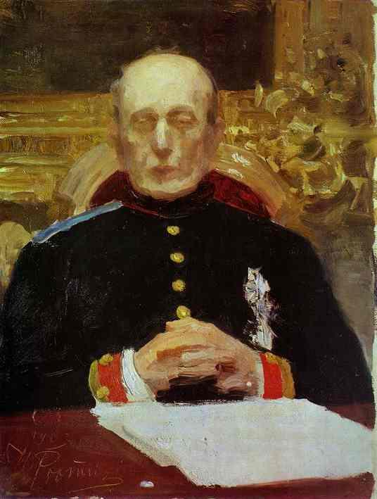 Oil painting:Portrait of K. Pobedonostsev. Study. 1903