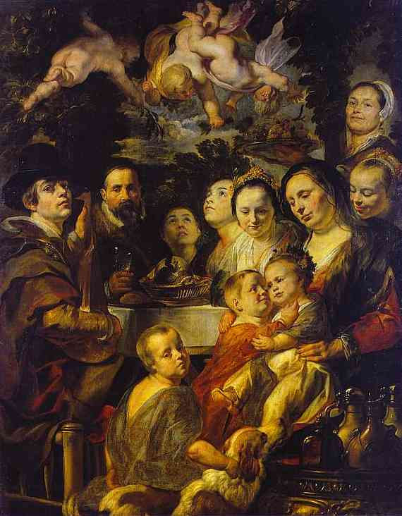 Oil painting:Self-Portrait with Parents, Brothers, and Sisters. c. 1615
