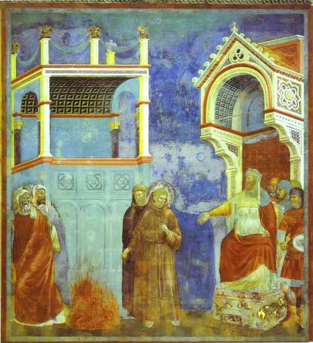 Oil painting:St. Francis before Sultan. Before 1300