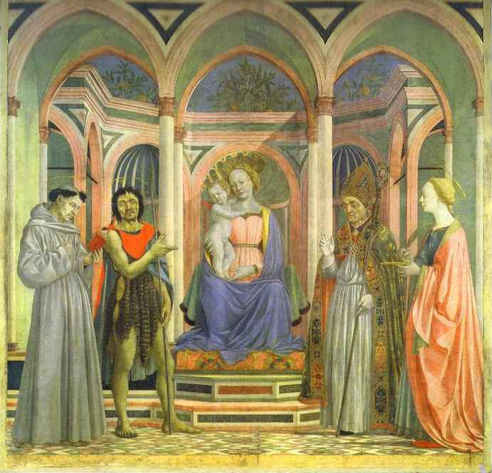 Oil painting:The Madonna and Child Enthroned with SS. Francis, John the Baptist, Zenobius and Lucy.
