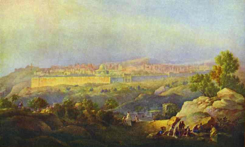 Oil painting:View of Jerusalem. 1836