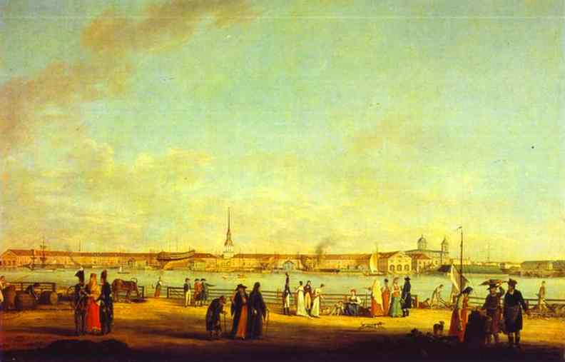Oil painting:View of the Admiralty as Seen from the Embankment of Vasilievsky Island. c. 1796-1803