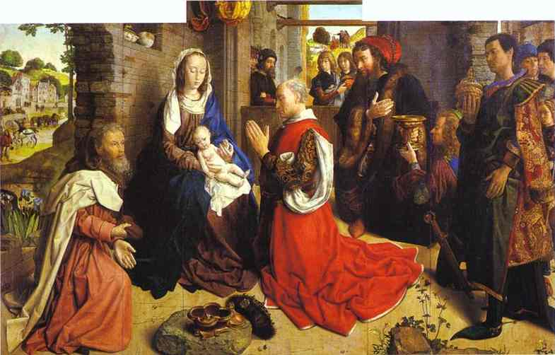 Oil painting:Adoration of the Magi. (central panel of the Monforte Altar; from the Monforte de Lemos