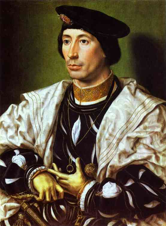 Oil painting:A Nobleman (Adolphe of Burgundy?). c. 1525