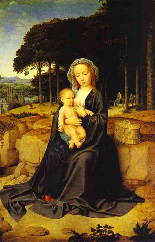 Oil painting:A Rest During the Flight to Egypt. c. 1510