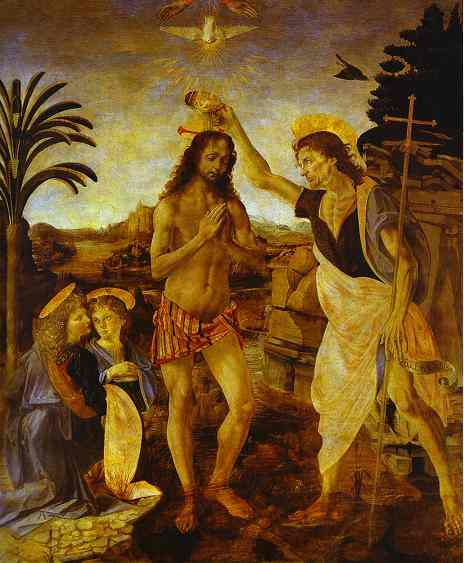 Oil painting:Andrea del Verrocchio and Leonardo da Vinci. The Baptism of Christ. c.1472-1475