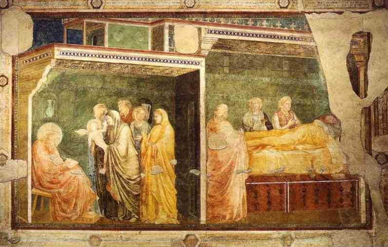 Oil painting:Birth and Naming of John the Baptist. c. 1313