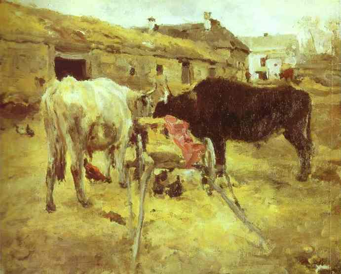 Oil painting:Bullocks. Study. 1885