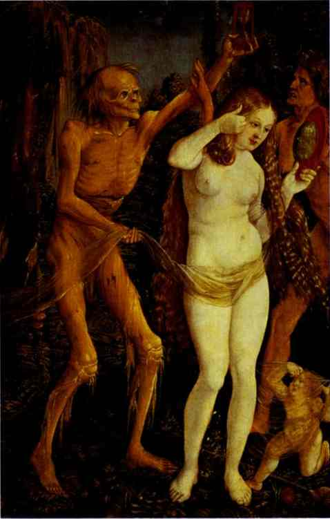 Oil painting:Death and the Maiden. c.1510