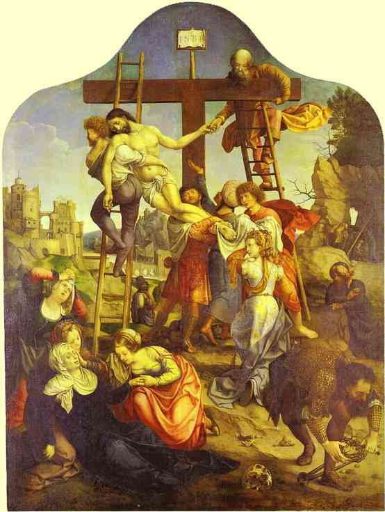 Oil painting:Descent from the Cross. 1521