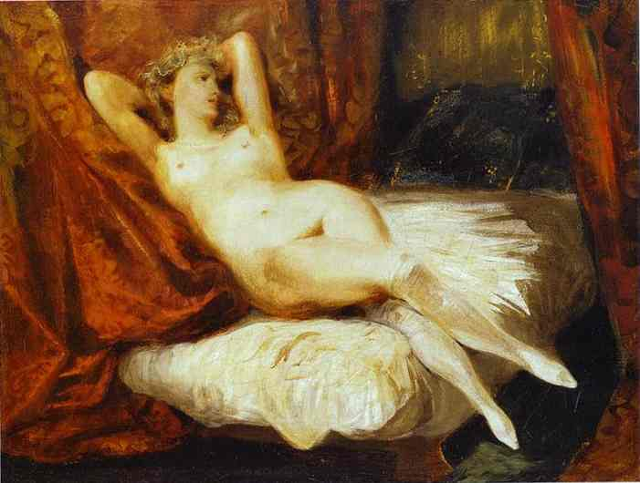 Oil painting:Female Nude Reclining on a Divan. c.1825