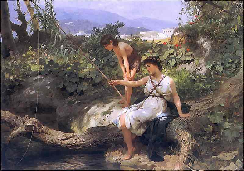 Oil painting:Fishing. A Scene from Roman Life. 1885