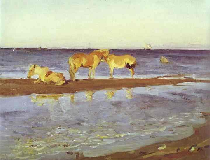 Oil painting:Horses on a Shore. 1905