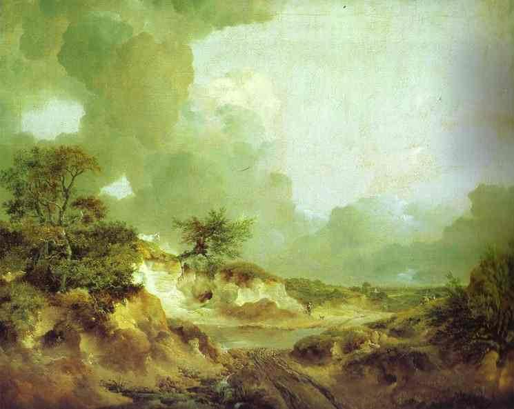 Oil painting:Landscape with Sandpit. c.1746