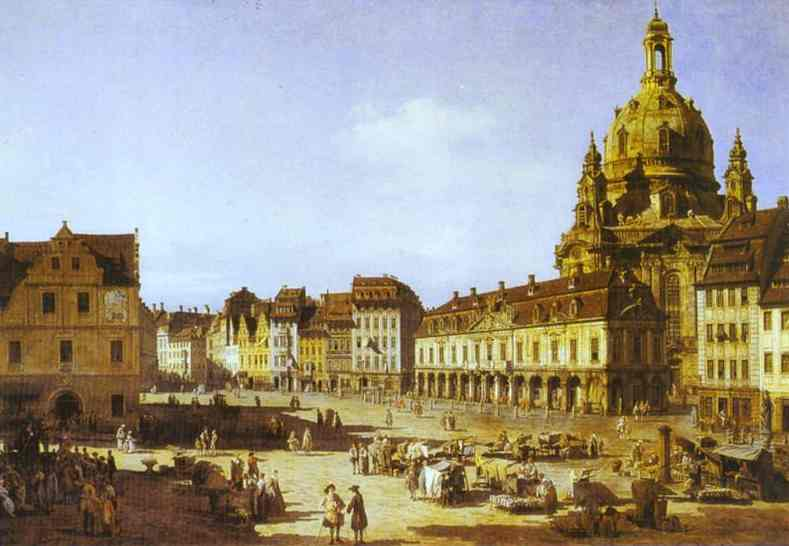 Oil painting:New Market Square in Dresden. 1750