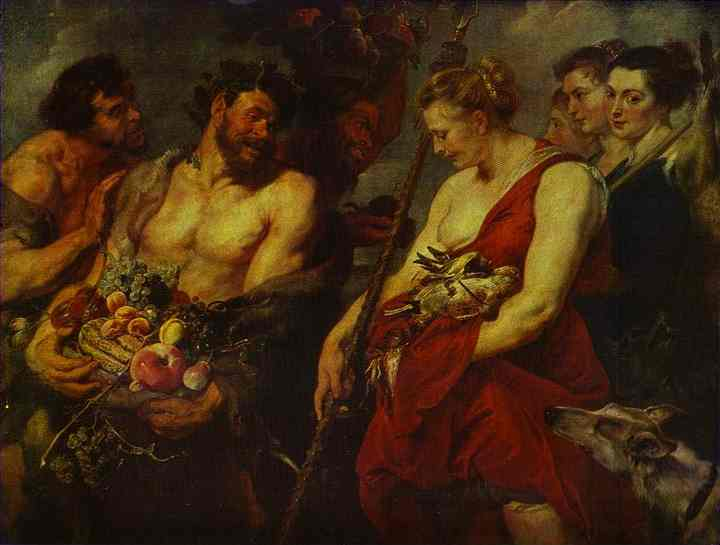Oil painting:Peter Paul Rubens and Frans Snyders (the animals and fruit). Diana Returning from the
