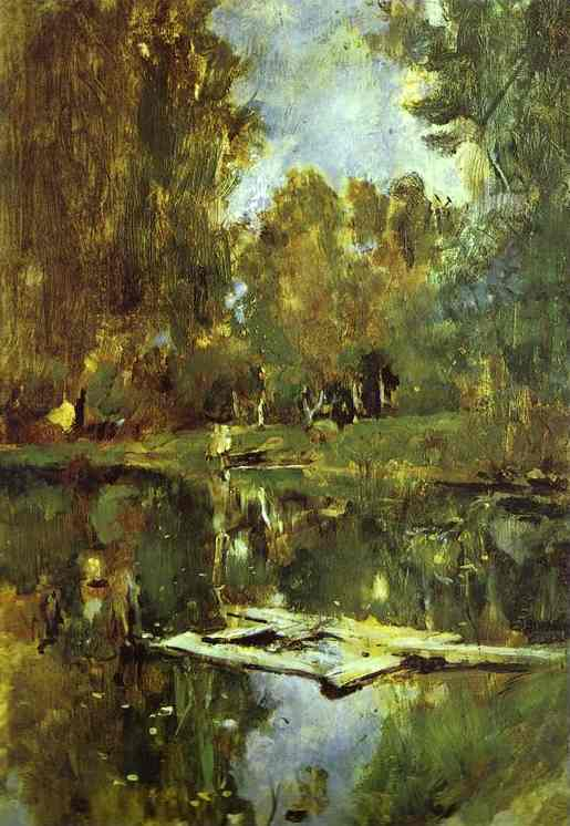Oil painting:Pond in Abramtsevo. Study. 1886