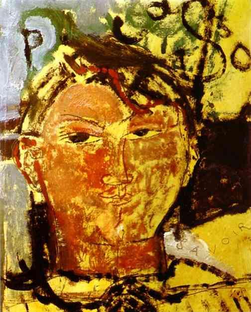 Oil painting:Portrait of Pablo Picasso. 1915