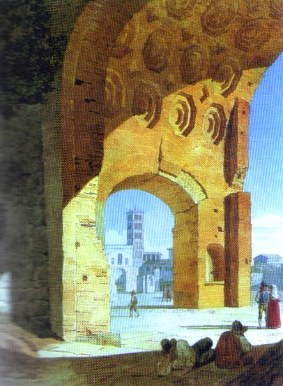 Oil painting:Rome. View of the Baths of Diocletian. 1823