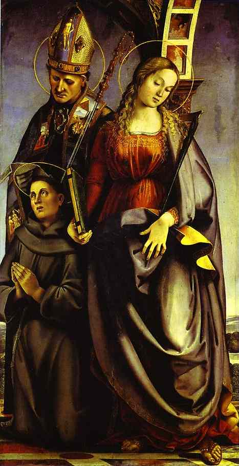 Oil painting:SS. Augustine, Catherine of Alexandria, and Anthony of Padua. Right wing of the