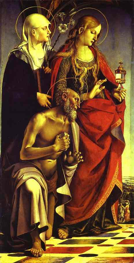 Oil painting:SS. Catherine of Siena, Mary Magdalene and Jerome. Left wing of the St.Agosino