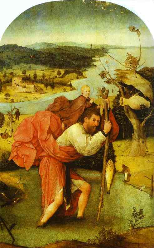 Oil painting:St. Christopher Carrying the Christ Child. 1480-1490