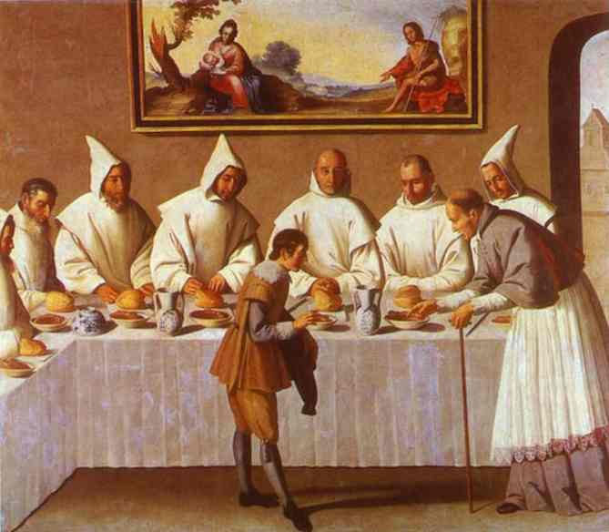 Oil painting:St. Hugo of Grenoble in the Carthusian Refectory. c. 1633