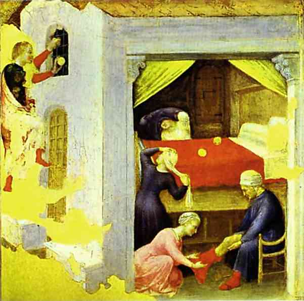 Oil painting:St. Nicholas and the Three Gold Balls. From the predella of the Quaratesi triptych from