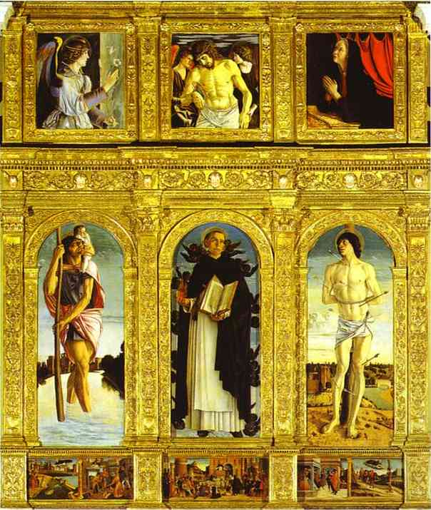 Oil painting:St. Vincent Ferrar Polyptych, with St. Christopher, St.