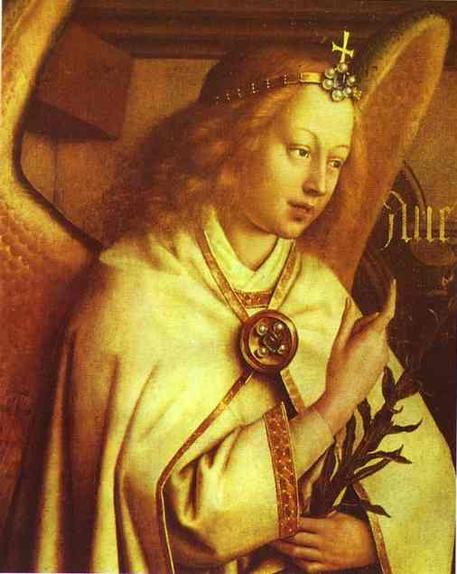 Oil painting:The Annunciation. Gabriel. (Detail). 1432