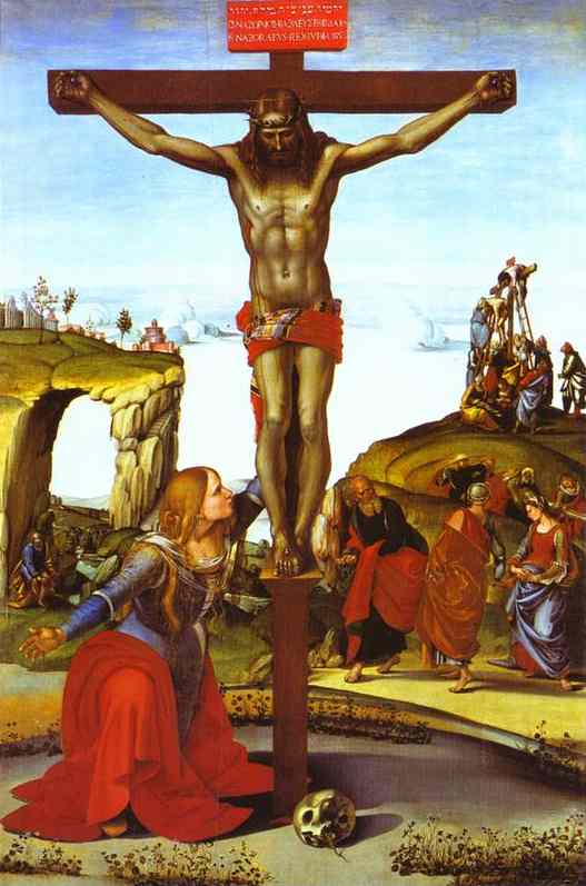 Oil painting:The Crucifixion with St. Mary Magdalen. c. 1495-1500