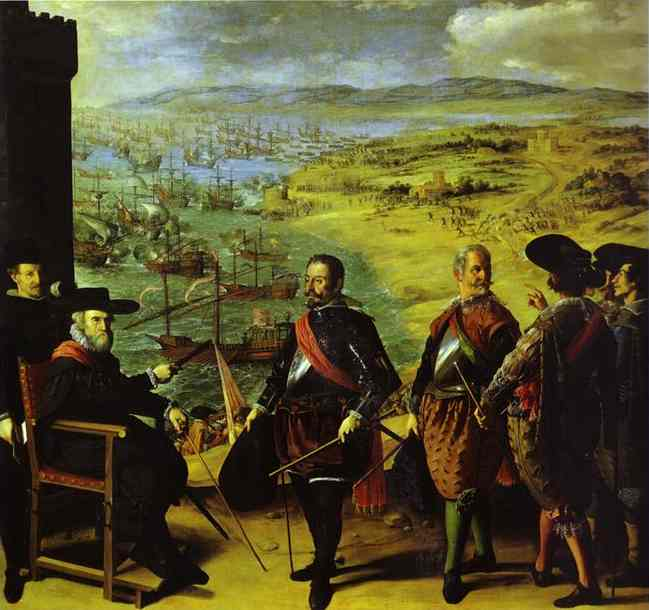 Oil painting:The Defense of Cadiz Against the English. 1634