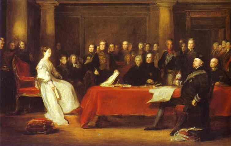 Oil painting:The First Council of Queen Victoria. 1838