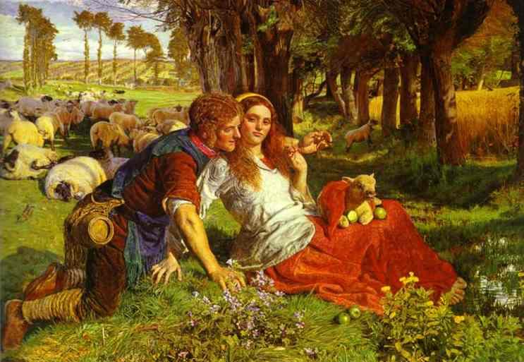 Oil painting:The Hireling Shepherd. 1851