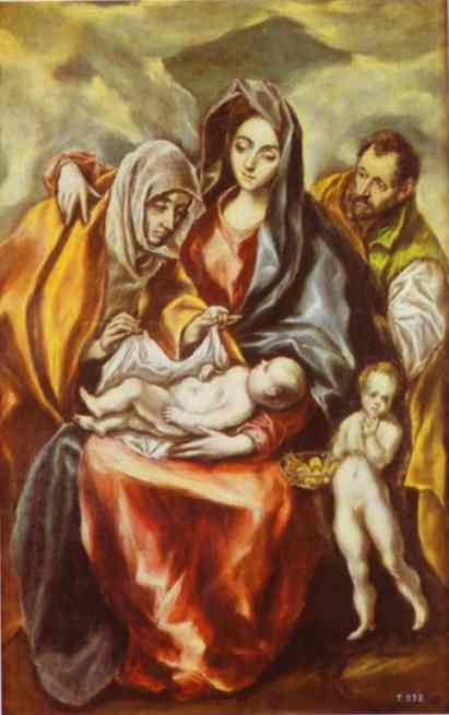 Oil painting:The Holy Family with St. Anne and the Young St. John the Baptist. c.1594-1604