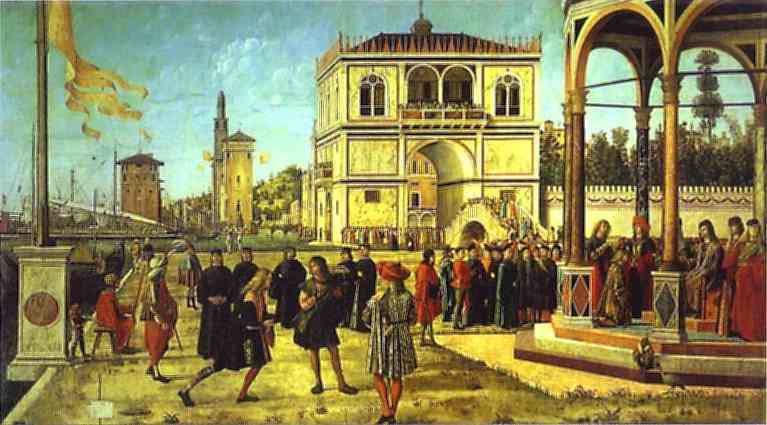 Oil painting:The Legend of St. Ursula: Return of the Ambassadors. c. 1495