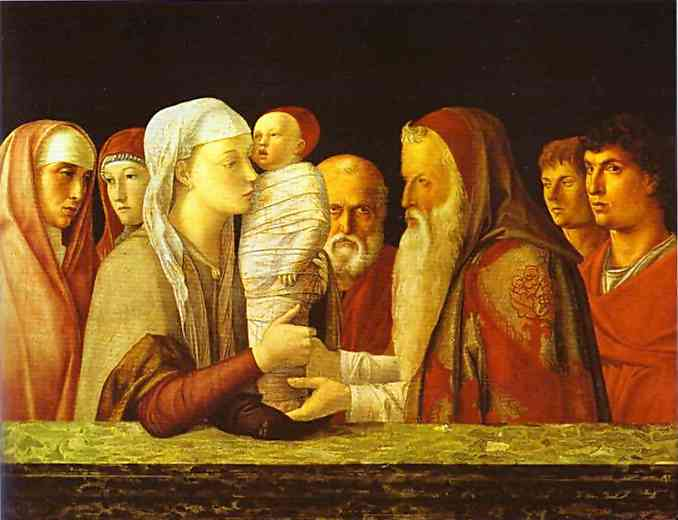 Oil painting:The Presentation in the Temple. c. 1460