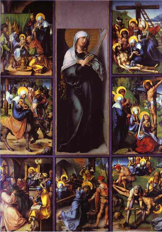 Oil painting:The Seven Sorrows of the Virgin. c.1496
