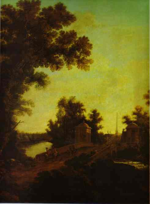 Oil painting:The Stone Bridge at Gatchina. 1799