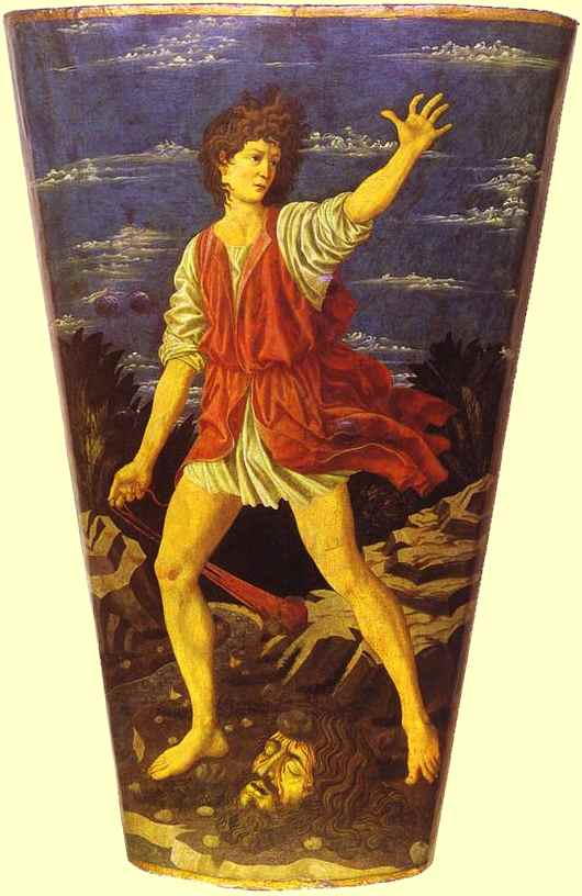 Oil painting:The Youthful David. c. 1450