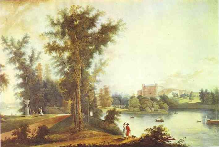 Oil painting:View on the Gatchina Palace from Long Island. 1798