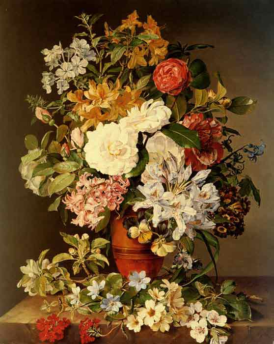 Oil painting for sale:Stilleben Mit Blumen [Still life with flowers], 1839