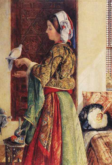 Oil painting for sale:Girl with Two Caged Doves