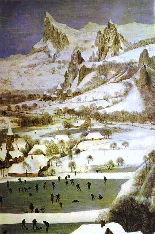 The Hunters in the Snow (January). Detail. 1565